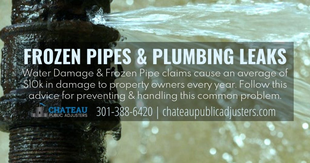 Frozen Pipes and Plumbing Leaks cause water damage claims for insurance repairs of 10000 dollars