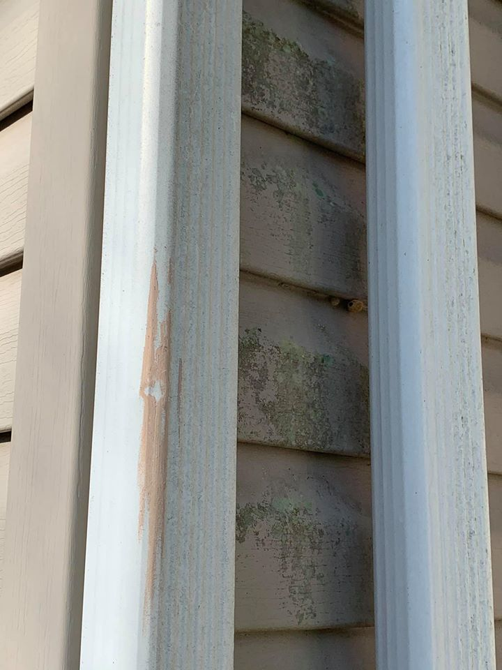 Hail Damage gutters and siding from large storm in Maryland