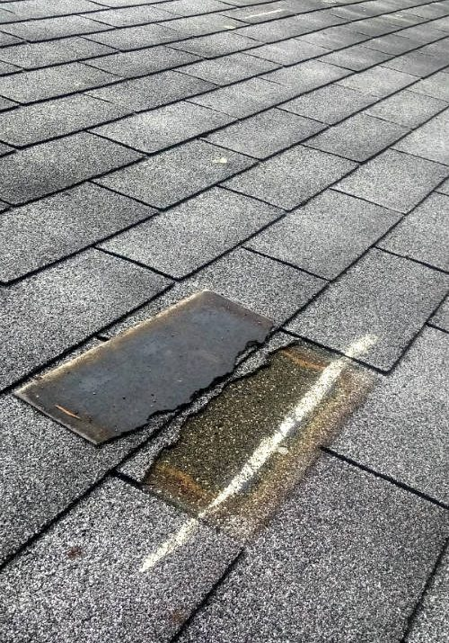 Roof damage claim for asphalt shingle wind damage discovered during roof inspection by public adjuster in Hanover PA 17331